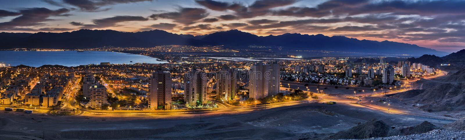 Panoramic view on Eilat city, Israel. Eilat is a famous resort and recreation city of Israel located on the Red Sea royalty free stock photo