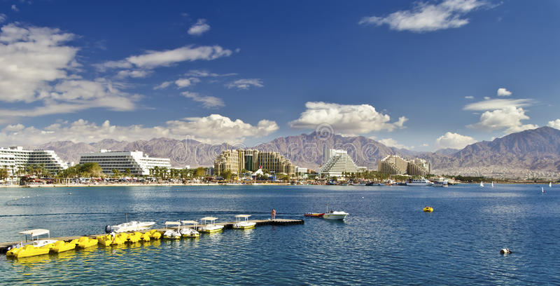 Panoramic view of Eilat, Israel. This shot was taken in Eilat - a famous resort and recreation center of Israel royalty free stock photography