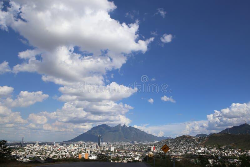 Panoramic view of el cerro de la silla. A panoramic view of El Cerro de la Silla in Monterrey City, Mexico. Cerro de la silla is a city landmark because it stock images