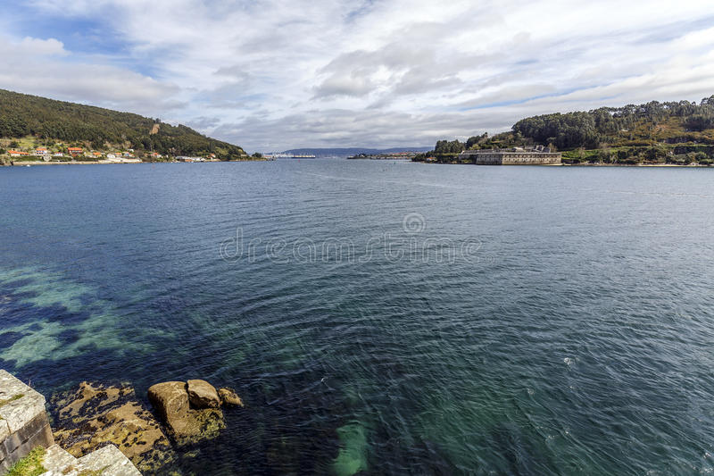 Panoramic view of El Ferrol Spain. The ria, from the castle of San Felipe stock photos