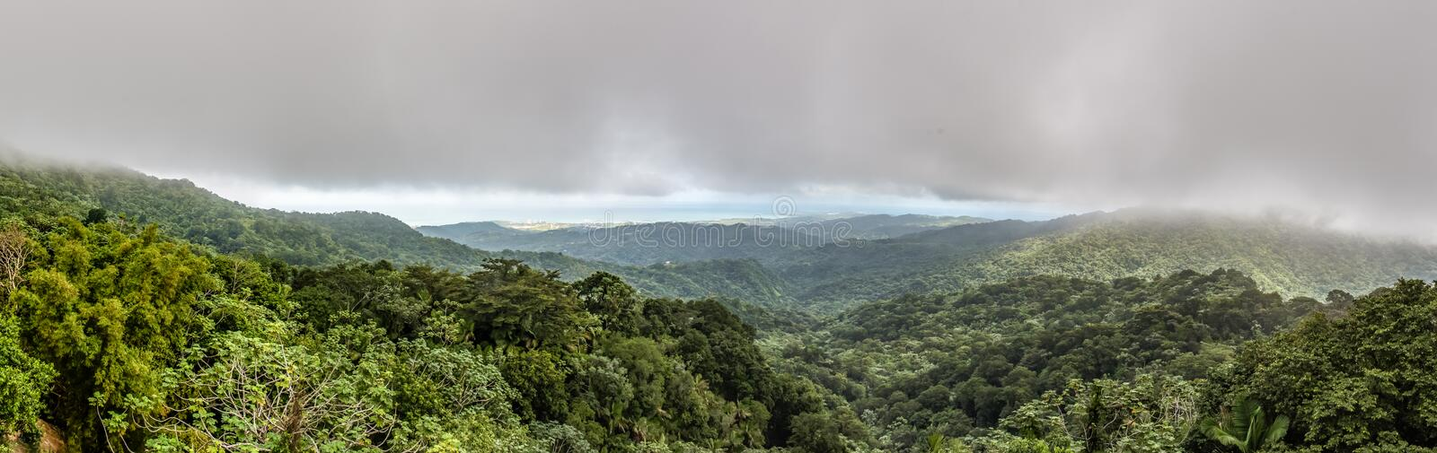 Panoramic view of the El Yunque rainforest. With a storm hovering over the mountains royalty free stock photo