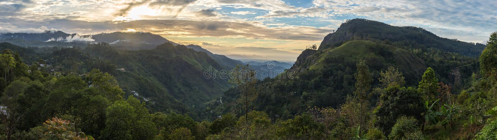 Panoramic view on Ella Gap. While sunrise royalty free stock images