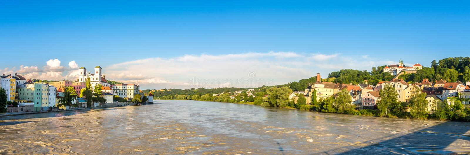 Panoramic view at the Embankments of Inn River in Passau - Germany. Panoramic view at the Embankments of Inn River in Passau, Germany stock photo