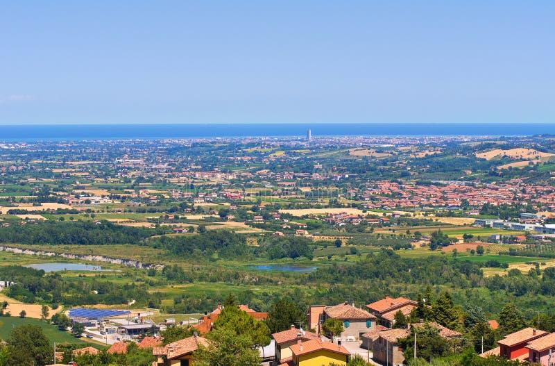 Panoramic view of Emilia-Romagna. Italy. stock photos