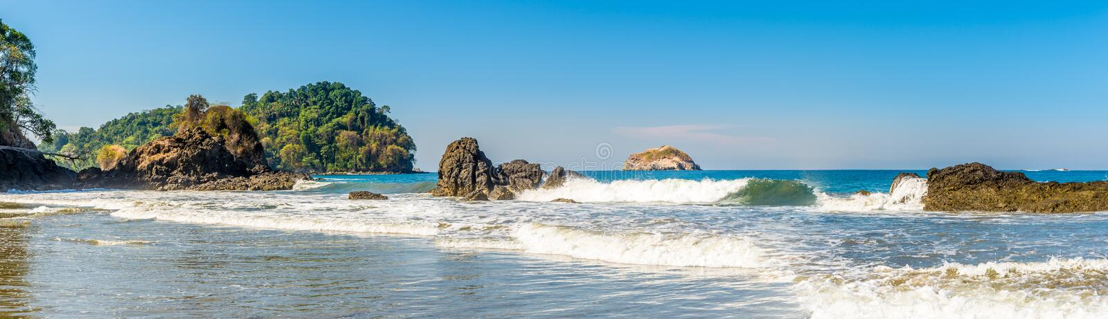 Panoramic view at the Espadilla bech in Manuel Antonio National Park - Costa Rica. Panoramic view at the Espadilla bech in Manuel Antonio National Park, Costa royalty free stock photo
