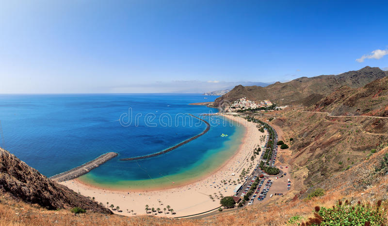 Panoramic view of famous beach Playa de las Teresitas. Tenerife, Spain stock photography