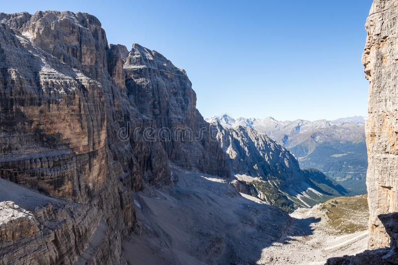 Panoramic view of famous Dolomites mountain peaks, Brenta. Trentino, Italy.  royalty free stock photography