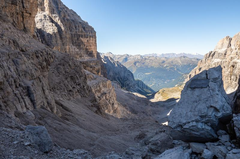 Panoramic view of famous Dolomites mountain peaks, Brenta. Trentino, Italy.  royalty free stock images