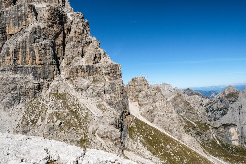 Panoramic view of famous Dolomites mountain peaks, Brenta. Trentino, Italy.  royalty free stock image
