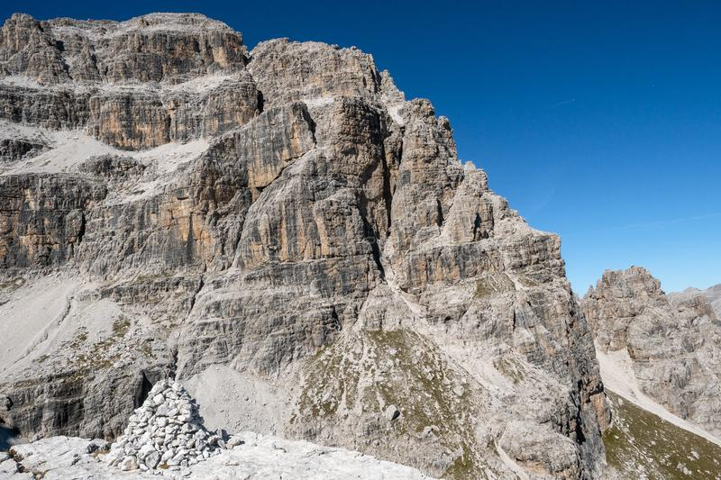 Panoramic view of famous Dolomites mountain peaks, Brenta. Trentino, Italy.  stock photography