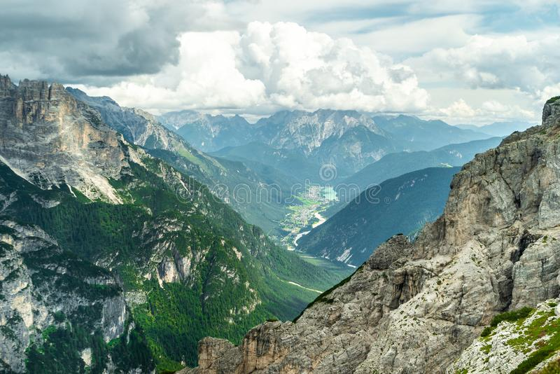 Panoramic view of famous Dolomites mountain peaks glowing in beautiful golden evening light in summer, South Tyrol, Italy. Dolomit. Es Landscape. View from the stock photography