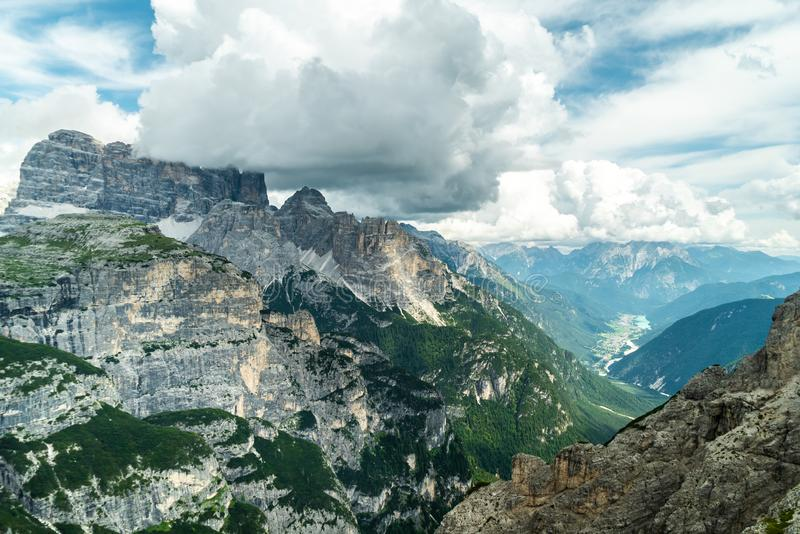 Panoramic view of famous Dolomites mountain peaks glowing in beautiful golden evening light in summer, South Tyrol, Italy. Dolomit. Es Landscape. View from the stock images