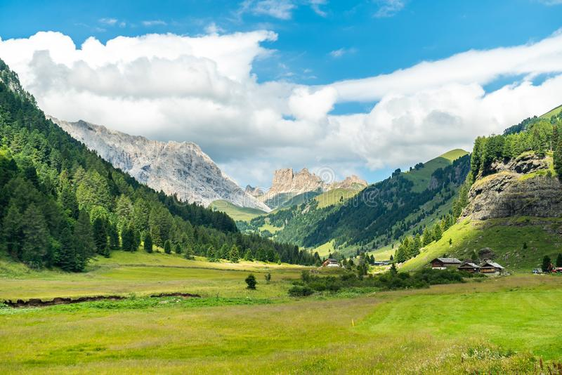 Panoramic view of famous Dolomites mountain peaks glowing in beautiful golden evening light in summer, South Tyrol, Italy. Dolomit. Es Landscape. View from the royalty free stock images