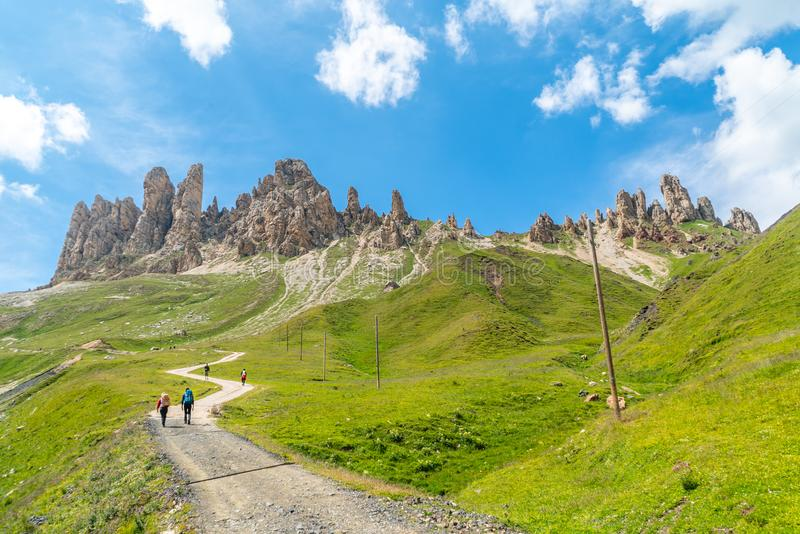 Panoramic view of famous Dolomites mountain peaks glowing in beautiful golden evening light in summer, South Tyrol, Italy. Dolomit. Es Landscape. View from the stock photos