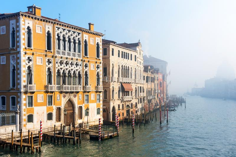 Panoramic view of famous Grand Canal in the winter in Venice, Italy royalty free stock photography