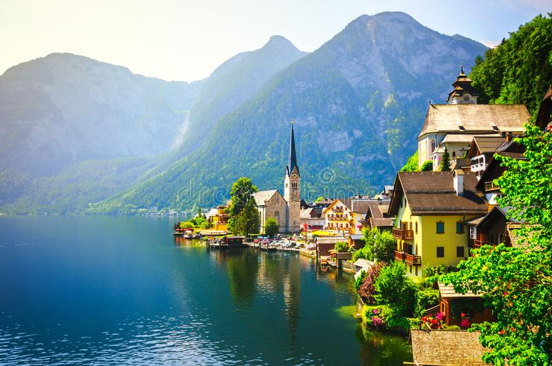 Panoramic view of famous Hallstatt village in the Austrian Alps stock photos