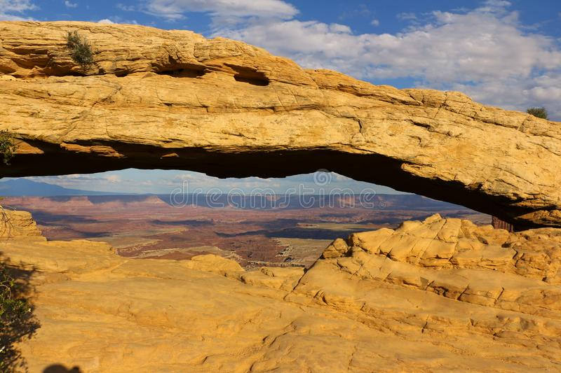 Panoramic view of famous Mesa Arch. Canyonlands has more than 80 natural arches - Canyonlands National Park, Utah, USA. Panoramic view famous mesa arch stock image