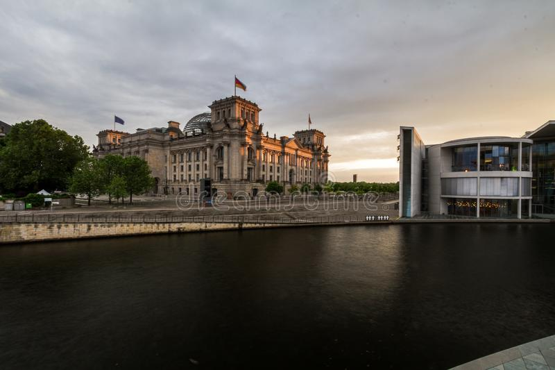 12.7.2018 BERLIN, GERMANY: Panoramic view of famous Reichstag building, seat of the German Parliament (Deutscher Bundestag), with royalty free stock image