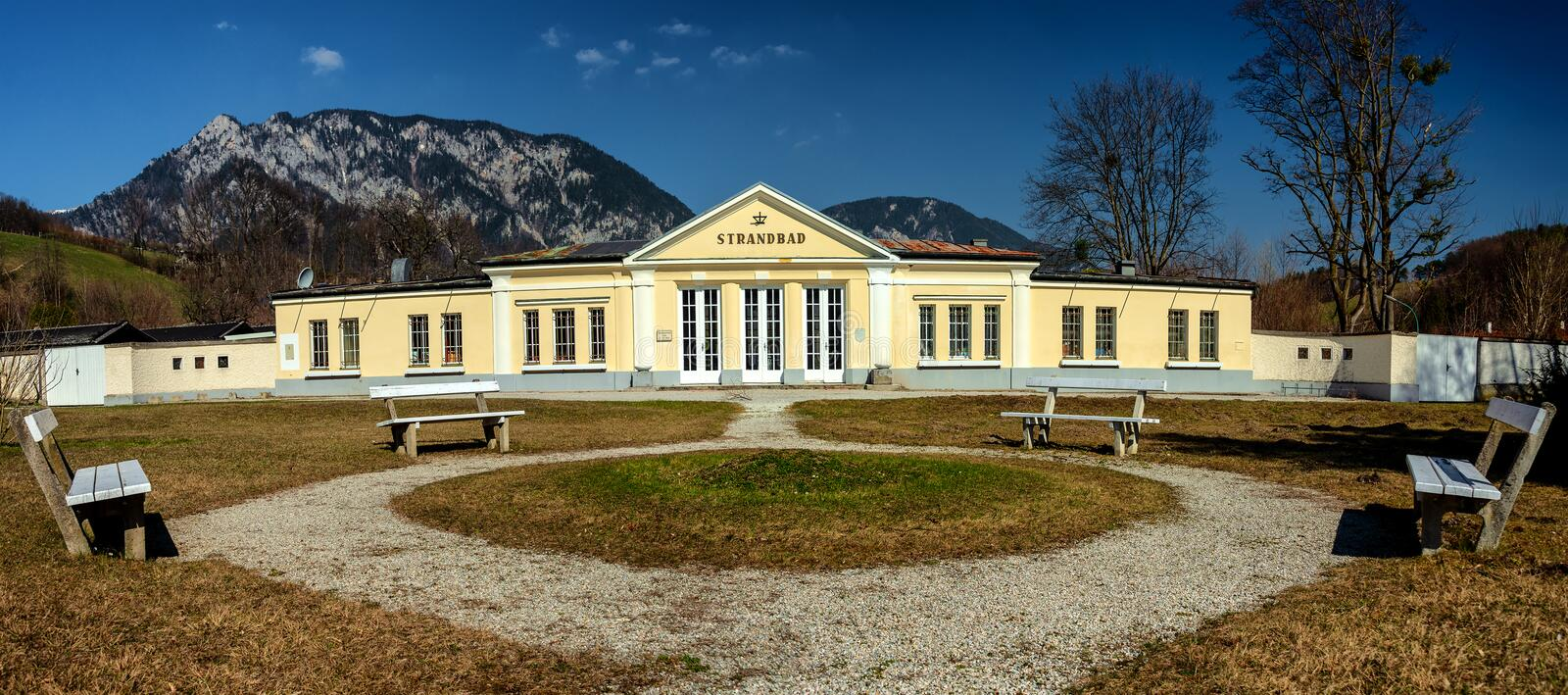 Health Resort, Spa in Edlach, Rax, Austria. Panoramic view of the famous Strandbad engl. Health Resort, Spa in Edlach, located stock photography