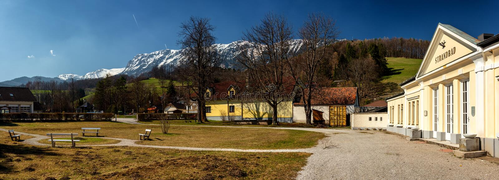 Health Resort, Spa in Edlach, Rax, Austria. Panoramic view of the famous Strandbad engl. Health Resort, Spa in Edlach, located royalty free stock photos