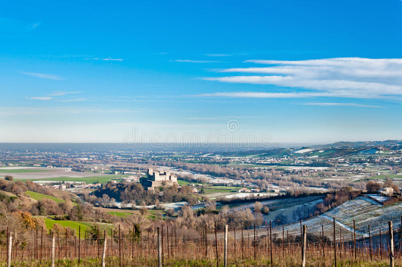 Famous Torrechiara Castle and valley royalty free stock image