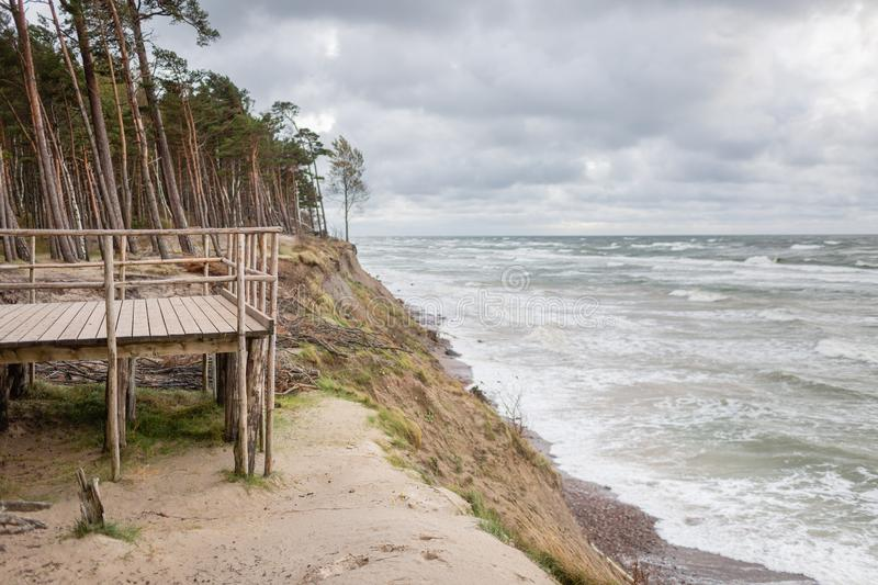 Panoramic view of famous tourist attraction dutchman`s cap in Lithuania`s seaside regional park near Karkle, Lithuania. Panoramic view of famous tourist royalty free stock photography