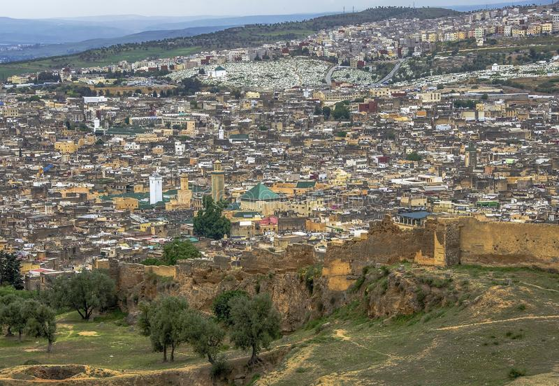 Panoramic view of Fez Fes center, Morocco stock photos