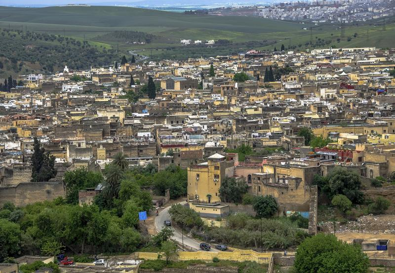 Panoramic view of Fez Fes center, Morocco stock images