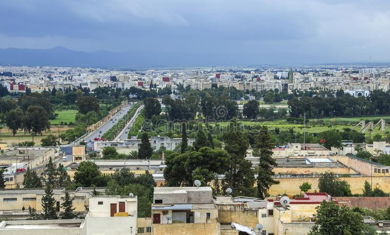 Panoramic view of Fez Fes center, Morocco stock photo