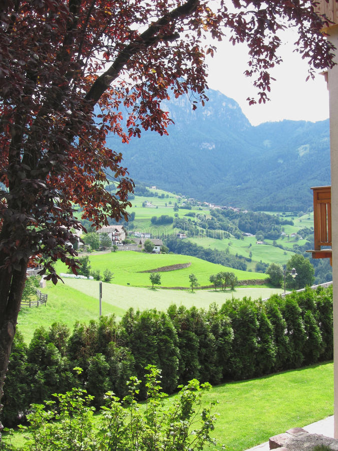 Panoramic view from Fie allo Sciliar, South Tyrol, Italy.  royalty free stock photo