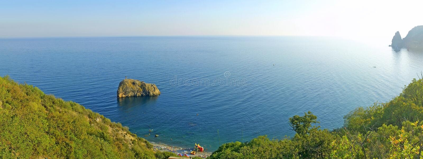 The panoramic view of Fiolent cape. In Black Sea, Ukraine royalty free stock photo