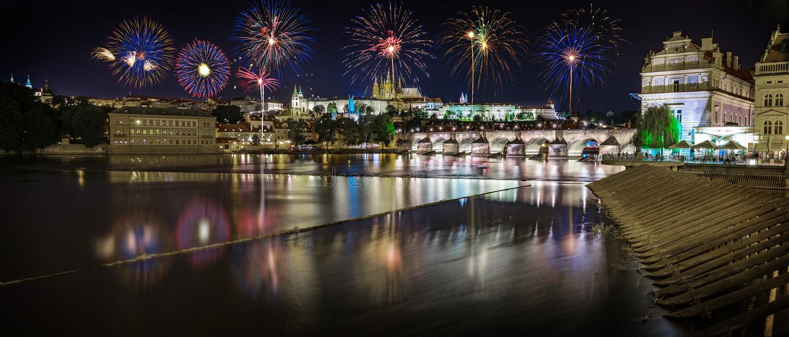Panoramic view of fireworks over the Old Town of Prague, The Czech Republic. stock images