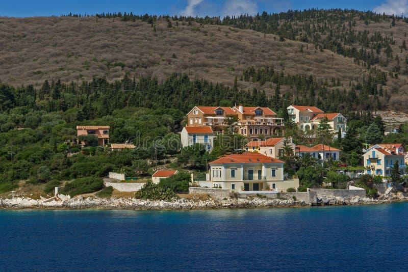 Panoramic view of Fiskardo village, Kefalonia, Ionian islands, Greece stock images
