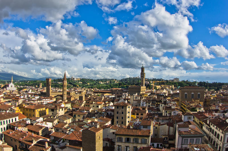 Panoramic view of Florence with Palazzo Vecchio and other landmarks, Tuscany. Italy stock photos