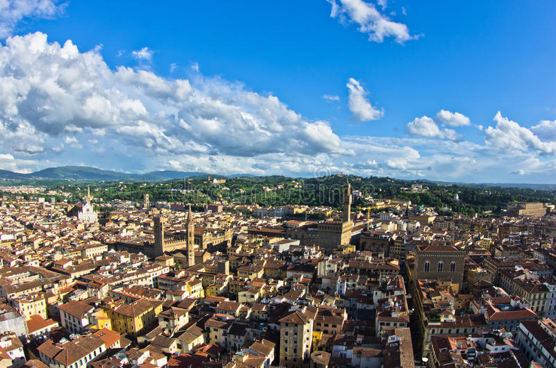 Panoramic view of Florence with Palazzo Vecchio and other landmarks, Tuscany. Italy royalty free stock image