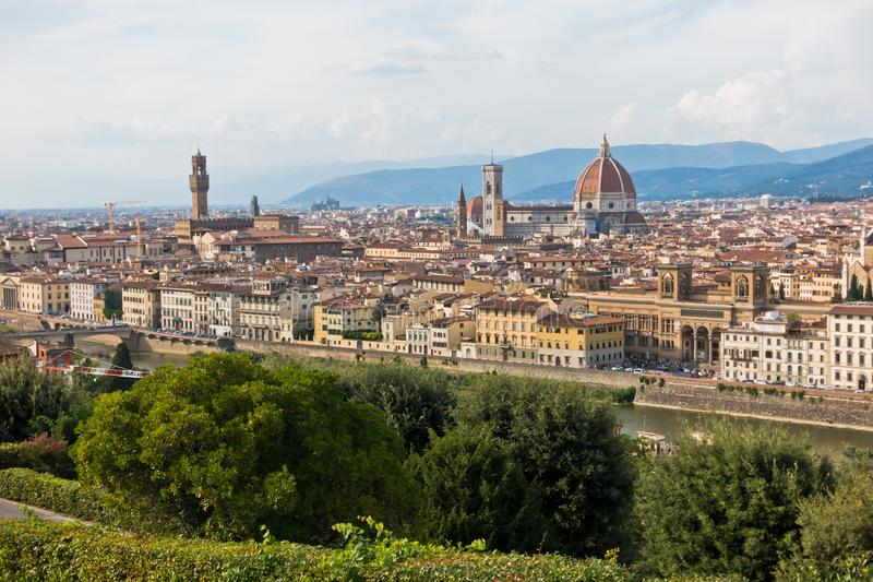 Panoramic view of Florence with Palazzo Vecchio, Santa Maria del Fiore cathedral and other landmarks, Tuscany. Italy royalty free stock photography