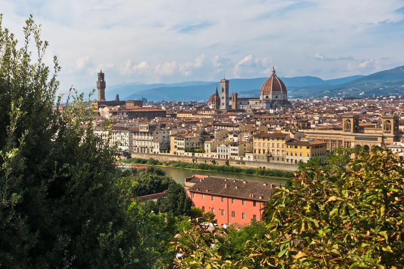 Panoramic view of Florence with Palazzo Vecchio, Santa Maria del Fiore cathedral and other landmarks, Tuscany. Italy royalty free stock image