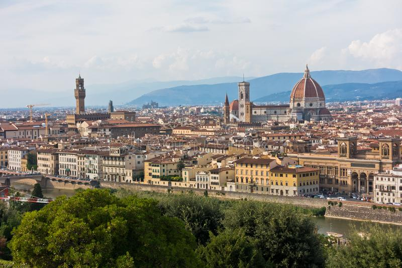 Panoramic view of Florence with Palazzo Vecchio, Santa Maria del Fiore cathedral and other landmarks, Tuscany. Italy stock photos