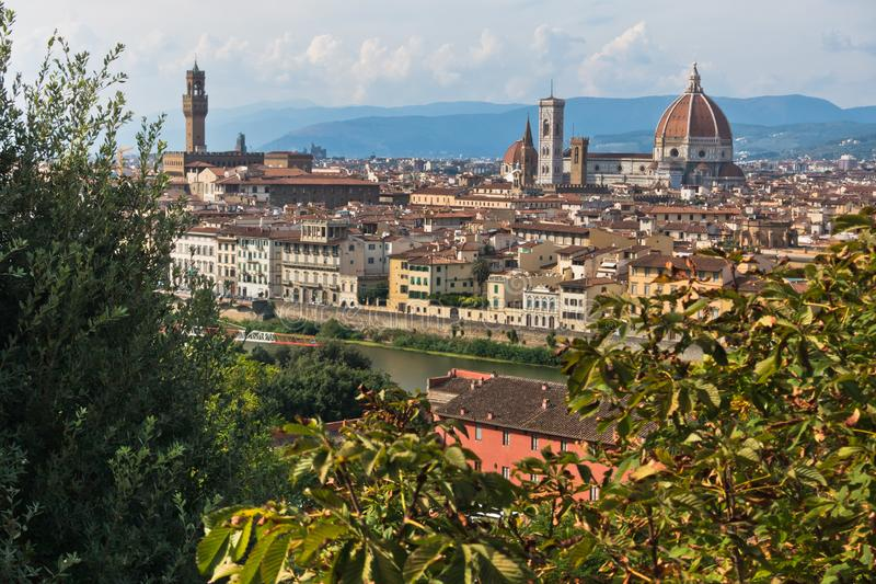 Panoramic view of Florence with Palazzo Vecchio, Santa Maria del Fiore cathedral and other landmarks, Tuscany. Italy royalty free stock photos