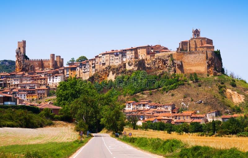 Panoramic view of Frias in summer. Burgos stock photos