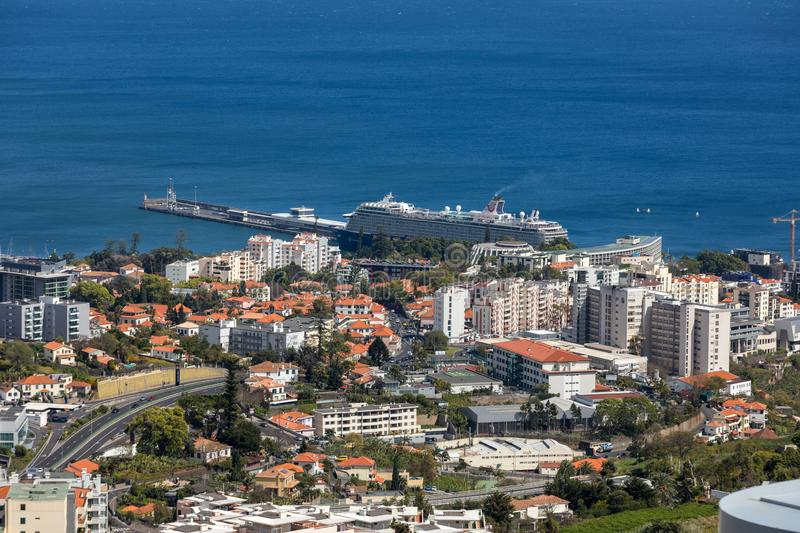 Panoramic view of Funchal on Madeira Island. stock images