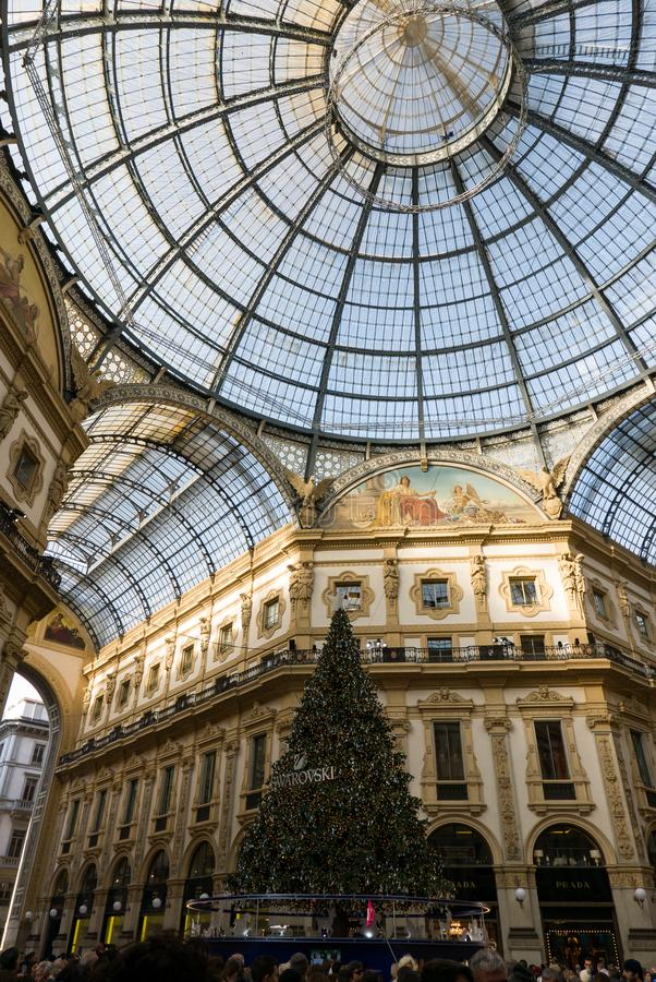 Panoramic View of the Gallery Vittorio Emanuele II and the Christmas trees royalty free stock photo