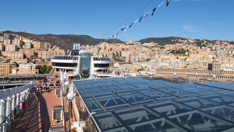 Panoramic view of Genoa city from open deck of cruise ship stock images