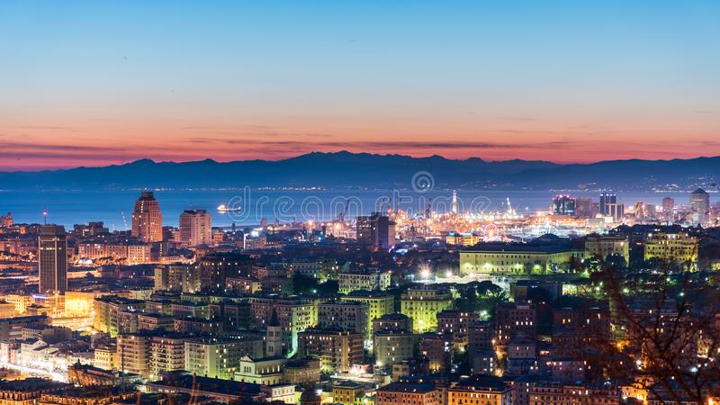 Panoramic view of Genoa during the twilight stock photo