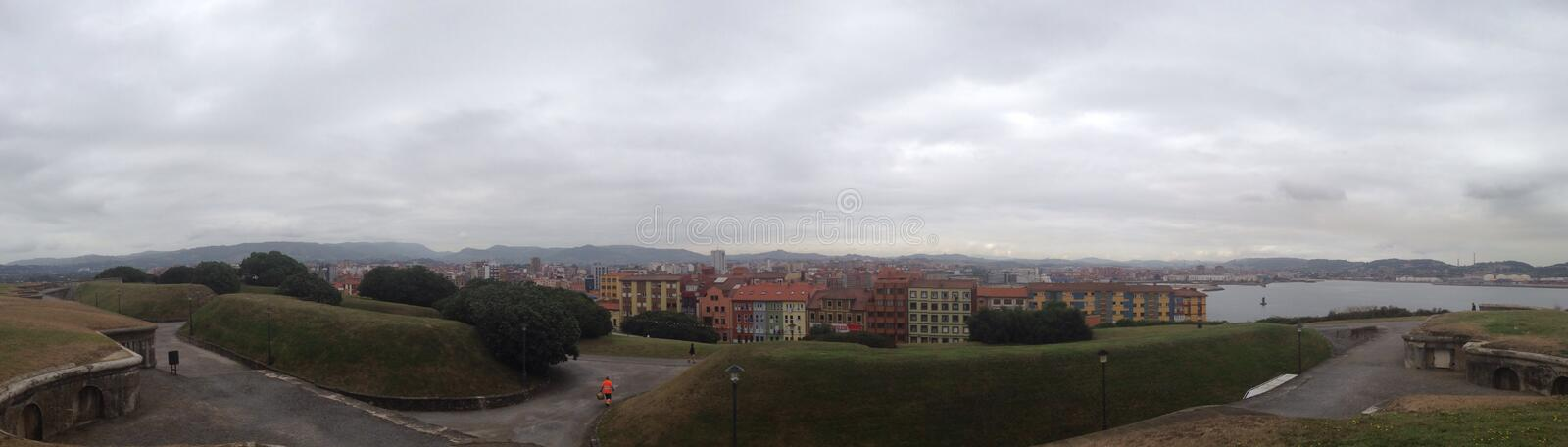 Panoramic view of Gijon royalty free stock images