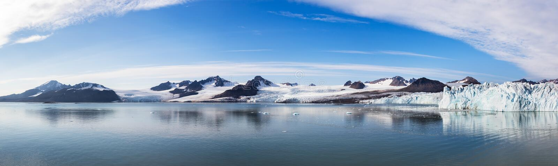 Fjortende Julibreen and 14 Juli Bukta at Svalbard, Norway in summer. Panoramic view of the Glacier 14 July or also known as Fjortende Julibreen and 14 Juli Bukta stock photos