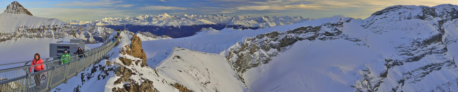 Panoramic view of Glacier 3000 from Les Diablerets bridge.Gstaad. Panoramic view ski traks from Glacier 3000 bridge. Les Diablerets,Gstaad royalty free stock image