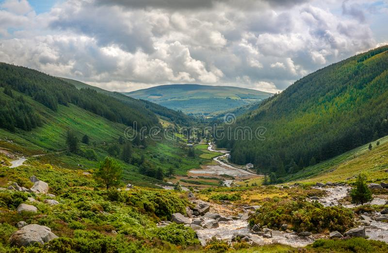 Panoramic view of Glendalough Valley, County Wicklow, Ireland royalty free stock photos