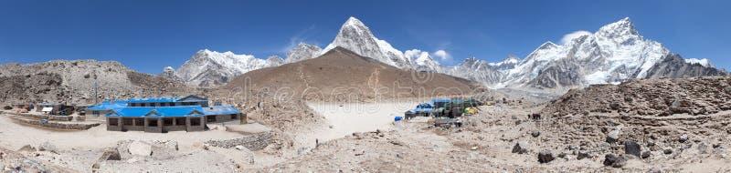 Panoramic view of Gorak Shep village. Nuptse, Pumo Ri and Kala Patthar view point, latest lodges on the way to Everest base camp tekking trail, Sagarmatha royalty free stock photos