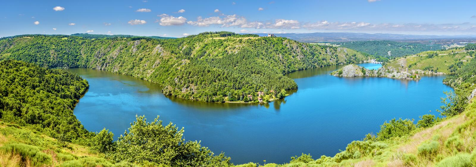 Panoramic view of Gorges of Loire river and the natural reserve area in French Auvergne-Rhone-Alpes region. Grangent island is at. Right, Camaldules peninsula royalty free stock images
